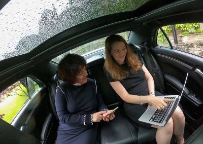 2 executives working inside a stylish luxury car in weston supermare uk