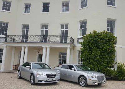 two wedding cars outside a venue near Bath UK