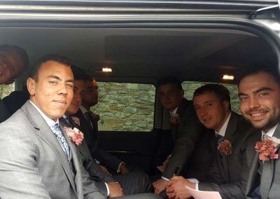 Grooms Party in a luxury wedding car in weston supermare