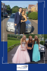 year 11 students going to prom in Cadbury Cars luxury cars