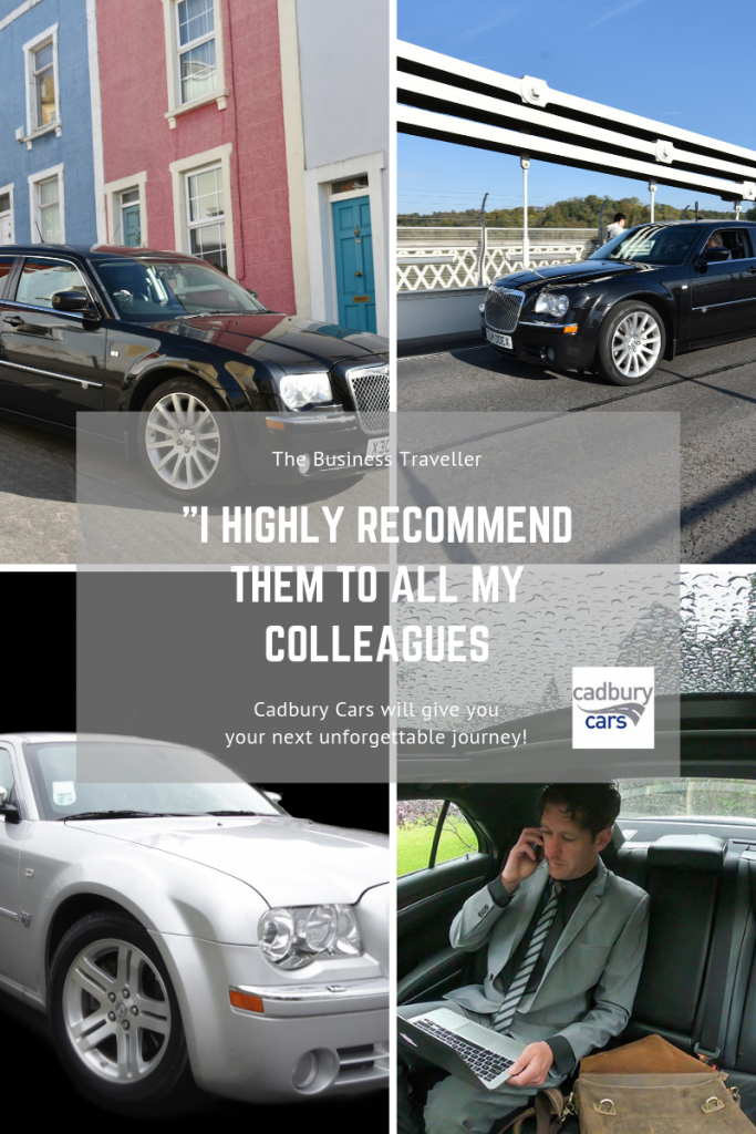 collage of images of cadbury cars chauffeur cars and business traveller