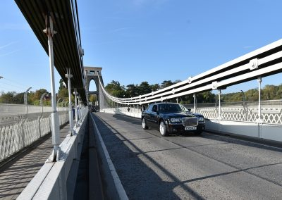black cadbury cars chrysler on Bristol suspension bridge