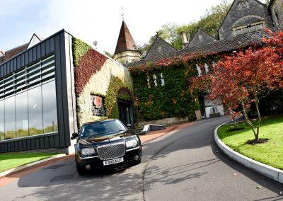 black chrysler Cadbury Cars outside Cadbury House